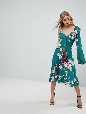 Boohoo One Shoulder Floral Midi Dress