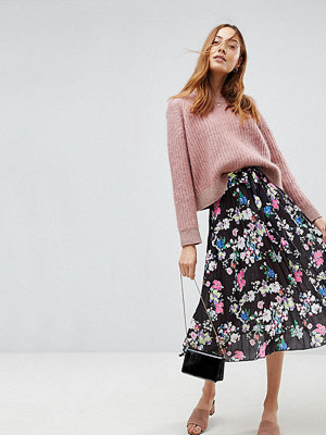 Asos Tall Pleated Midi Skirt with Belt in Print