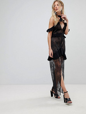 For Love & Lemons Off Shoulder Lace Midi Dress