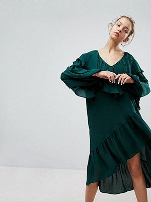 Weekday Ruffle Midi Dress With Asymmetric Hem