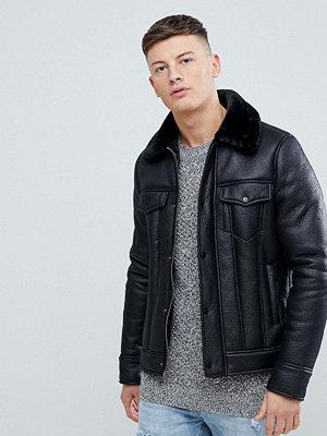 Skinnjackor - New Look Faux Suede Aviator Jacket In Black