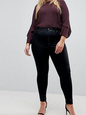 ASOS Curve 'Sculpt me' Svarta jeans av hög kvalitet Svart ytbeläggning