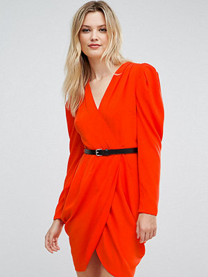Asos Tall Plunge Neck Wrap Mini Dress with Belt - Bright orange