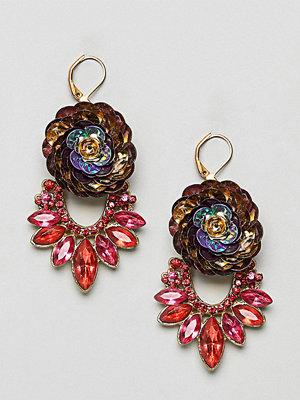 Reclaimed Vintage örhängen Inspired 80'S Gem Flower Statement Earring (+)