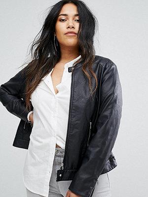 Junarose Collarless Leather Look Biker Jacket