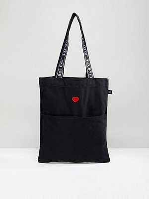 Lazy Oaf shopper Heart Embroidered Tote Bag in Black