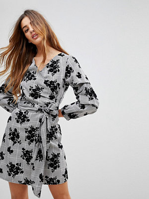 Parisian Check Wrap Dress With Floral Print