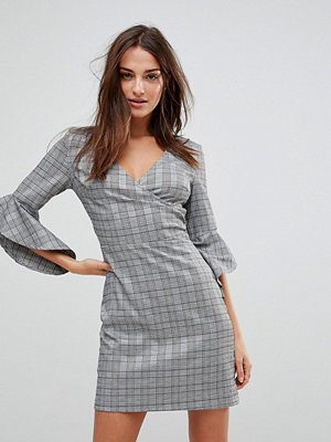 Parisian Check Wrap Front Dress With Flare Sleeve