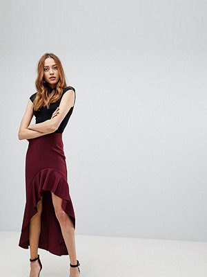 Asos Tall Scuba Skirt with High Low Ruffle Detail