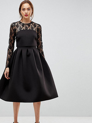 Asos Tall Lace Long Sleeve Crop Top Prom Dress