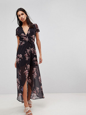 Hope and Ivy Hope & Ivy Floral Maxi Dress - Black print