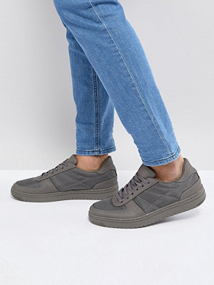 Sneakers & streetskor - ASOS Lace Up Trainers In Grey With Nylon Panels