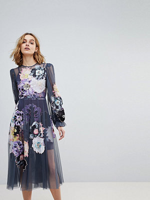ASOS Edition Smock Dress with Applique Embellished Flowers