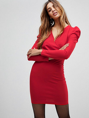 Parisian Wrap Front Dress With Volume Sleeve