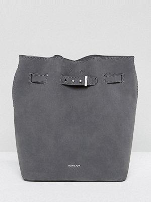 Matt & Nat axelväska Lexi Faux Suede Grey Bucket Bag