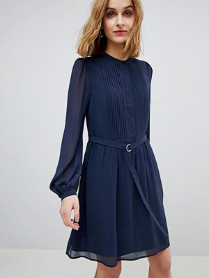 Warehouse Blouson Sleeve Belted Chiffon Shirt Dress