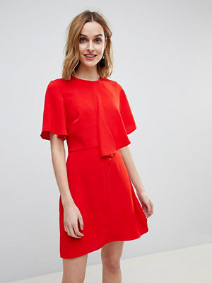 Warehouse Asymmetric Ruffle Front Mini Shift Dress