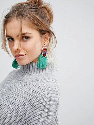 Glamorous örhängen Green Jewelled Tassel Statement Earrings ()