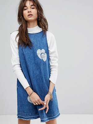 Love Moschino Distressed Pinny Denim Dress
