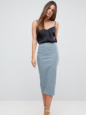 Asos Tall High Waisted Longerline Pencil Skirt - Slate grey