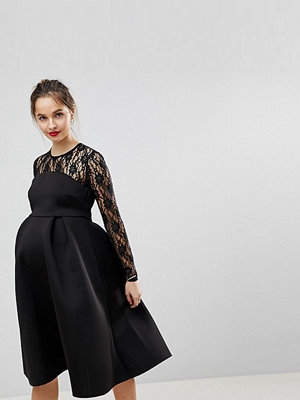 ASOS Maternity Lace Long Sleeve Crop Top Prom Dress