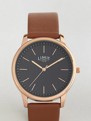 Klockor - Limit Tan Leather Watch With Stripe Dial Exclusive To ASOS