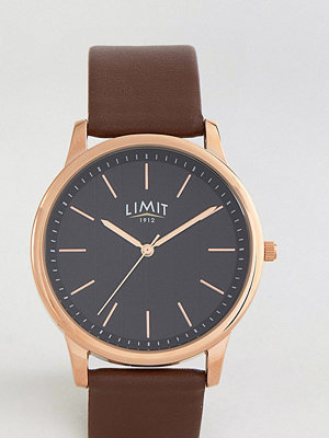 Klockor - Limit Brown Leather Watch With Stripe Dial Exclusive To ASOS