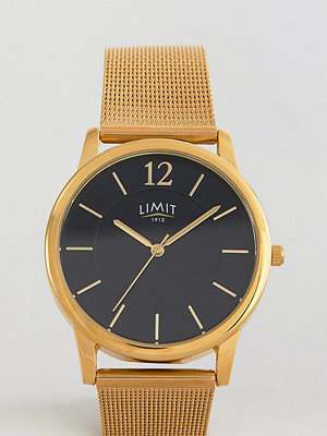 Klockor - Limit Gold Mesh Watch With Black Dial Exclusive To ASOS