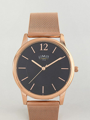 Klockor - Limit Rose Rose Gold Mesh Watch With Black Dial Exclusive To ASOS