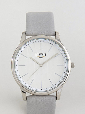 Klockor - Limit Grey Leather Watch With Stripe Dial Exclusive To ASOS
