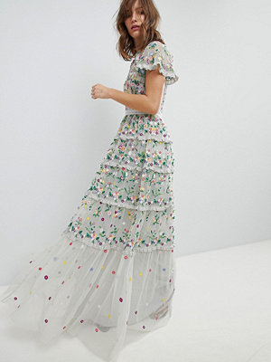 Needle & Thread Embroidered Floral Gown with High Neck and Tiered Skirt