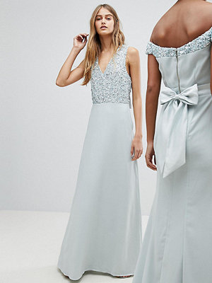 Maya Sleeveless Sequin Bodice Maxi Dress With Cutout And Bow Back Detail - Ice blue