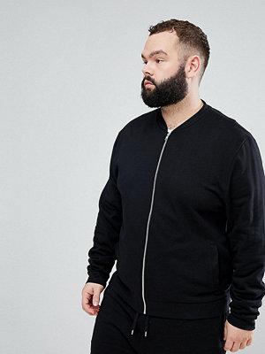 Bomberjackor - ASOS PLUS Jersey Bomber Jacket In Black