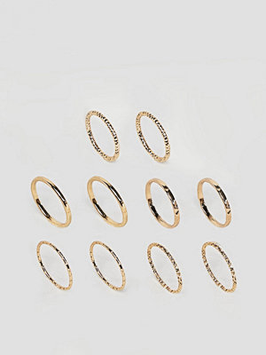ASOS Pack of 10 Mixed Texture Rings