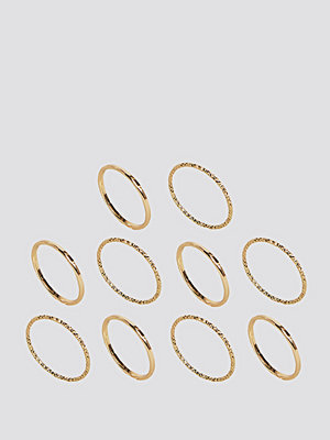 ASOS Curve Pack of 10 Mixed Texture Rings