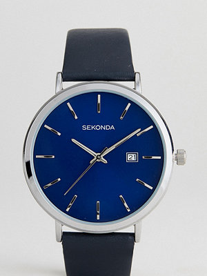 Klockor - Sekonda Black Leather Watch With Silver Dial Exclusive To ASOS