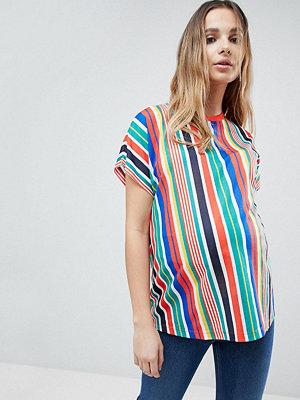 ASOS Maternity T-shirt med vertikala regnbågsränder