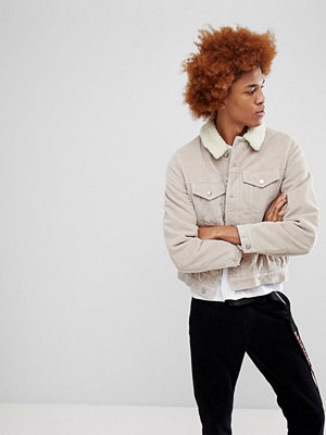 Jeansjackor - ASOS Cord Jacket With Borg Collar in Stone