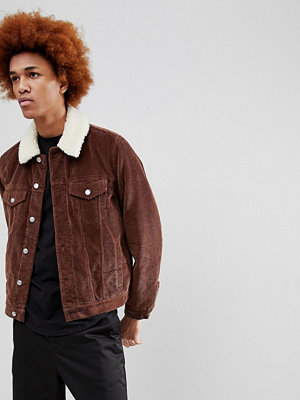 Jeansjackor - ASOS Cord Jacket With Borg Collar in Brown