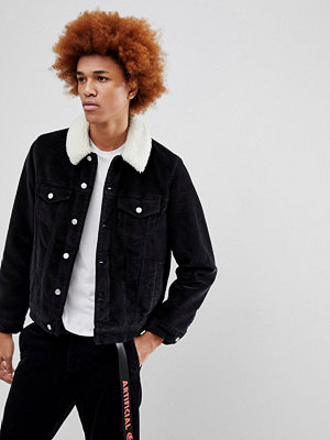 Jeansjackor - ASOS Cord Jacket With Borg Collar in Black