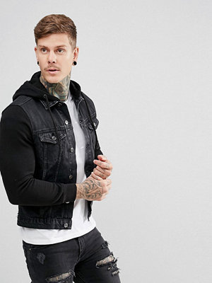 Jeansjackor - New Look Denim Jacket With Jersey Sleeves In Black