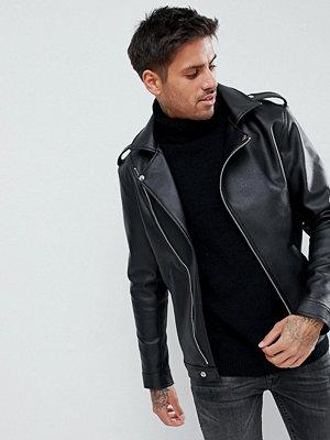 Skinnjackor - boohooMAN Faux Leather Asymmetric Biker Jacket In Black