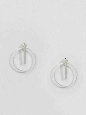 Kingsley Ryan örhängen Sterling Silver Stick & Circle Drop Front Back Earrings