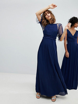 TFNC WEDDING Pleated Maxi Dress With Spot Mesh Frill Detail