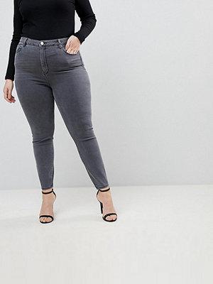ASOS Curve Ridley Gråa skinny jeans med hög midja