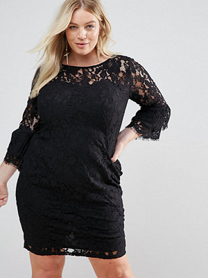 Paper Dolls Plus Midi Lace Dress with Double Frill Sleeve