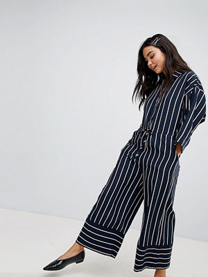 Monki Wide Leg Stripe Jumpsuit - Blue and pink