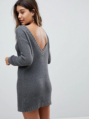 Fashion Union Jumper Dress In Cable Knit With Deep V Back