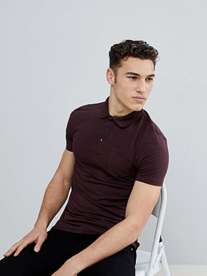 Pikétröjor - Burton Menswear Muscle Fit Polo Shirt In Burgundy