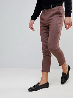 Byxor - ASOS Tapered Smart Trousers In Plum Wool Mix